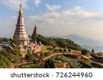 landscape of two pagoda on the... | Shutterstock . vector #726244960