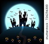halloween castle on blue moon... | Shutterstock .eps vector #726256300