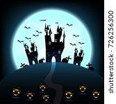 halloween castle on blue moon... | Shutterstock .eps vector #726256300