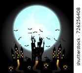 halloween pumpkins and dark... | Shutterstock .eps vector #726256408