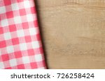 rad plaid on wooden of brown... | Shutterstock . vector #726258424