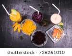 the fresh juice of carrots ... | Shutterstock . vector #726261010