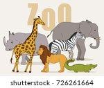 big set with african animals... | Shutterstock .eps vector #726261664