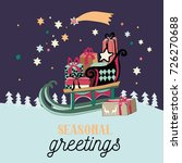 christmas sleigh with presents  ... | Shutterstock .eps vector #726270688