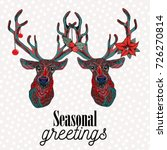 two reindeer with christmas... | Shutterstock .eps vector #726270814