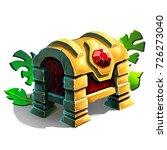 golden chest with green... | Shutterstock . vector #726273040