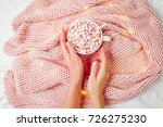 female hands hold a cup of... | Shutterstock . vector #726275230