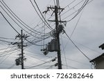 electricity pole in japan with... | Shutterstock . vector #726282646