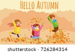 kids playing with autumn leaves.... | Shutterstock .eps vector #726284314