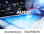 Small photo of Audit business concept. Auditor. Compliance. Virtual screen technology.