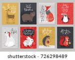 christmas animals card set ... | Shutterstock .eps vector #726298489