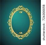 round photo frame  metal gold ... | Shutterstock .eps vector #726300058