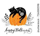 cute hand drawn halloween black ... | Shutterstock .eps vector #726300598