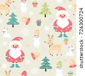 seamless pattern with santa ... | Shutterstock .eps vector #726300724
