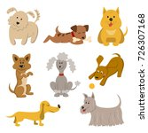 Set Of Funny Cartoon Dogs On...