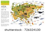 flat asian flora and fauna map... | Shutterstock .eps vector #726324130