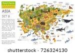 flat asian flora and fauna map... | Shutterstock .eps vector #726324130