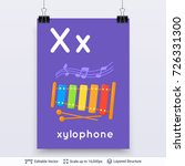 letter x and xylophone picture. ... | Shutterstock .eps vector #726331300