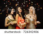 christmas celebration. friends... | Shutterstock . vector #726342406