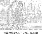 coloring page of turkish woman. ... | Shutterstock .eps vector #726346180