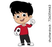 goalkeeper kid standing with... | Shutterstock .eps vector #726354463