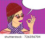 beauty girl with speech bubble... | Shutterstock .eps vector #726356704
