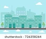 winter city landscape covered...   Shutterstock .eps vector #726358264