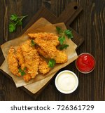 chicken strips with ketchup.... | Shutterstock . vector #726361729