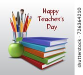 teachers day vector card.... | Shutterstock .eps vector #726364210