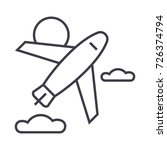 airplane vector line icon  sign ...