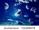 night sky with stars and moon | Shutterstock . vector #726388078