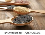 spoons with different quinoa... | Shutterstock . vector #726400108