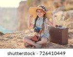 child girl traveler. trip alone.... | Shutterstock . vector #726410449