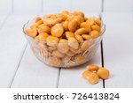 bowl of tasty lupin beans on a... | Shutterstock . vector #726413824