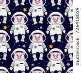 seamless pattern with cartoon... | Shutterstock . vector #726418039