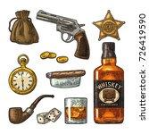 set wild west symbols. sheriff... | Shutterstock .eps vector #726419590