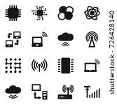 16 vector icon set   chip  atom ... | Shutterstock .eps vector #726428140