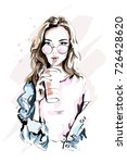 hand drawn beautiful young... | Shutterstock .eps vector #726428620
