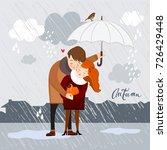 couple in the rain  autumn...   Shutterstock .eps vector #726429448