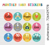 monthly baby stickers for... | Shutterstock .eps vector #726429778