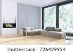 modern bright interiors. 3d... | Shutterstock . vector #726429934