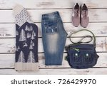 set of women's warm clothes on... | Shutterstock . vector #726429970