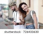 happy  tourists taking a walk... | Shutterstock . vector #726433630