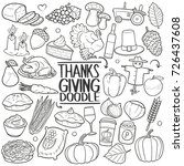 thanksgiving  holiday doodle...   Shutterstock .eps vector #726437608