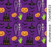 halloween seamless pattern.... | Shutterstock .eps vector #726438523