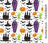 halloween seamless pattern.... | Shutterstock .eps vector #726438604