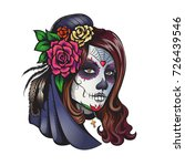 day of dead make up girl with...   Shutterstock .eps vector #726439546