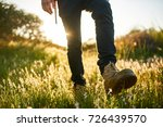 close up of hikers boot while... | Shutterstock . vector #726439570