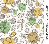 seamless pattern with almond ... | Shutterstock .eps vector #726439684