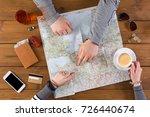 couple planning trip to paris ... | Shutterstock . vector #726440674